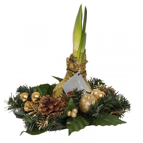 Wax Amaryllis Kerstkrans Goud